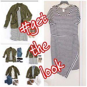 ➕Asymmetric Striped Body Con Dress